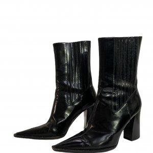 מגפיים עור שחור מבריק עם עקב ושפיץ - Dolce & Gabbana 2