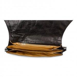 תיק קלאץ עור שחור עם ידית מתכת כסף וזהב 2