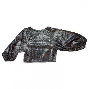 חולצה שחור כסוף שרוולים נפוחים - Clothes Tome 2