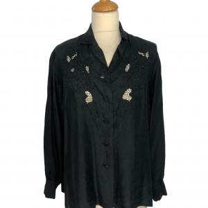 חולצת משי שחורה עם רקמות שחורות וינטג׳ 2