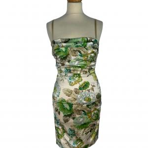 שמלה צמודה שמנת פרחים ירוקים dolce&gabbana 6
