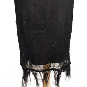 חצאית שיפון שחורה עם רשת ונוצות 2