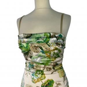 שמלה צמודה שמנת פרחים ירוקים dolce&gabbana 5