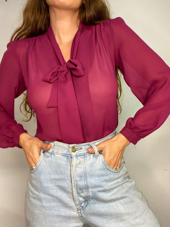חולצה מכופתרת שיפון סגולה 1