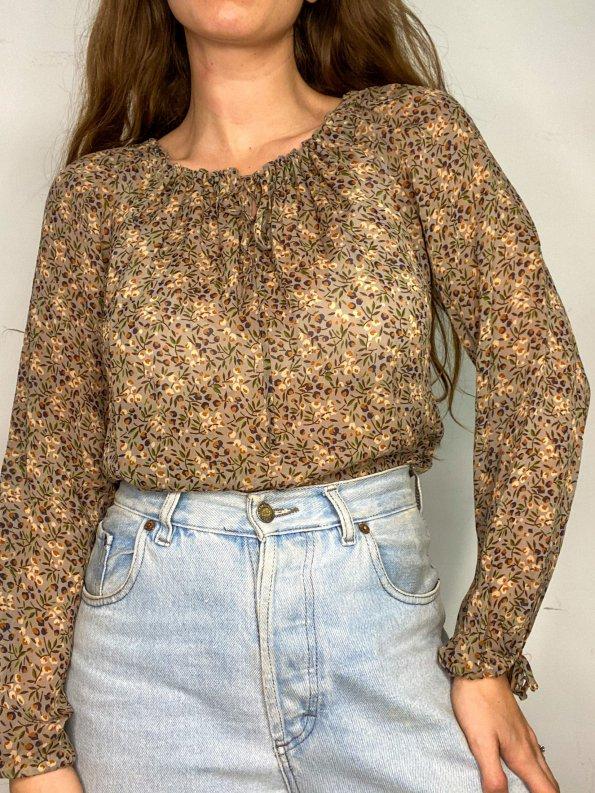 חולצת בוהו שקופה בצבע חום עם פירות ופרחים - TWIN-SET 1