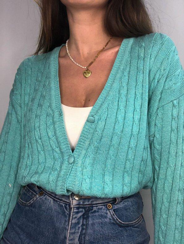 סוודר קרדיגן בצבע תכלת honigman 1