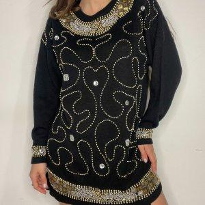 סוודר וינטג׳ אוברסייז שחור עם חרוזי זהב - Bagutti 3