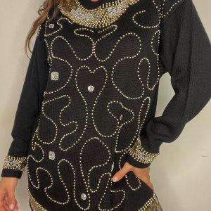 סוודר וינטג׳ אוברסייז שחור עם חרוזי זהב - Bagutti 2