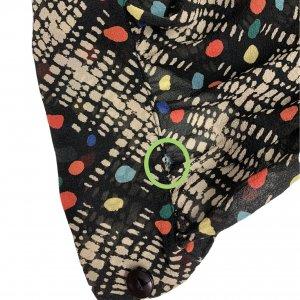 חולצה ארוכה מכופתרת שחורה עם נקודות בכחול צהוב כתום ירוק תכלת וריבועים ומלבנים בלבן 7