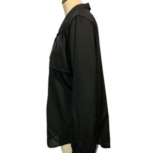 חולצה מכופתרת שרוול ארוך שחורה עם כריות כתפיים וינטג' - DVF 6