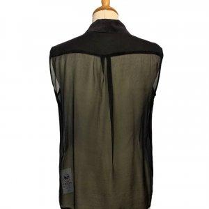 חולצת משי שיפון שחור ללא שרוולים - EQUIPMENT 3