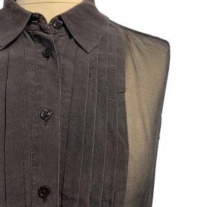 חולצת משי שיפון שחור ללא שרוולים - EQUIPMENT 5