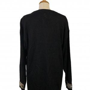 סוודר וינטג׳ אוברסייז שחור עם חרוזי זהב - Bagutti 4