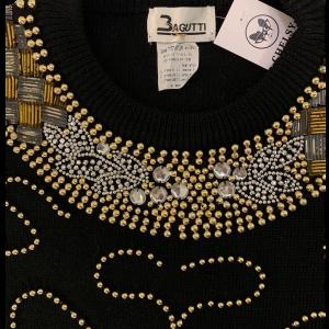 סוודר וינטג׳ אוברסייז שחור עם חרוזי זהב - Bagutti 6