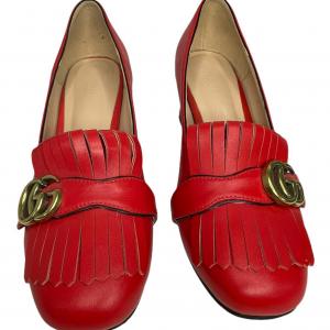 נעלי מוקסין עם עקב אדומות עם אבזם זהב GUCCI 3