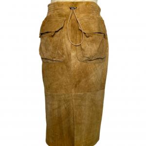 חצאית עור קאמל גומי בחגורה מאחורה yvessaintlauren 2