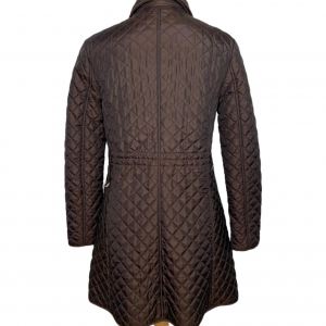 מעיל ארוך בצבע חום כהה תפירה בצורת מעויינים וכיסים 3