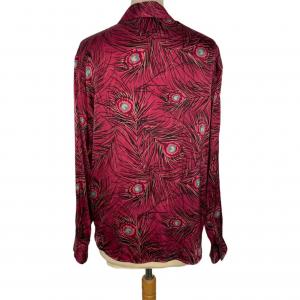 חולצת משי ויטנג׳, סגולה עם הדפס נוצות טווס 4
