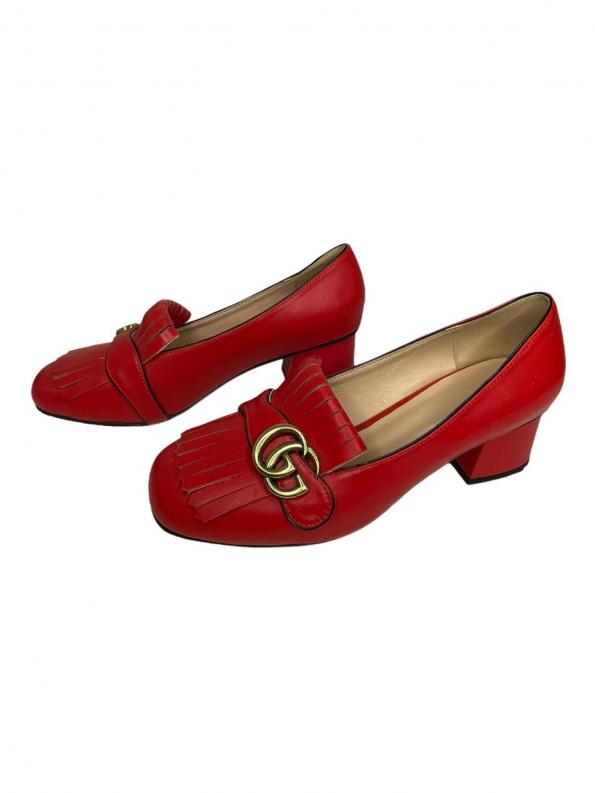 נעלי מוקסין עם עקב אדומות עם אבזם זהב GUCCI 1