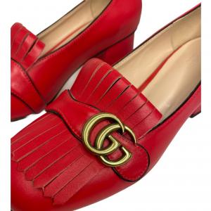 נעלי מוקסין עם עקב אדומות עם אבזם זהב GUCCI 2