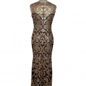 שמלת מקסי שחורה עם תחרה ופייטים בצבע פודרה 5