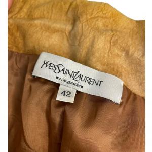 חצאית עור קאמל גומי בחגורה מאחורה yvessaintlauren 4
