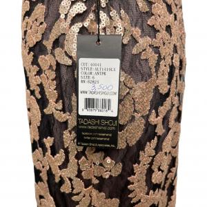 שמלת מקסי שחורה עם תחרה ופייטים בצבע פודרה 4