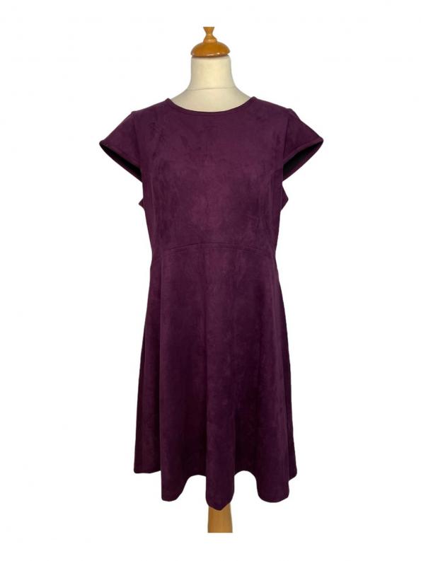 שמלה שרוול חצי קצר קטיפה סגול כהה 1