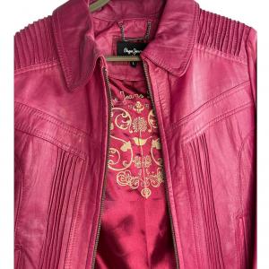 ג׳קט עור בצבע ורוד פוקסיה pepe jeans 5