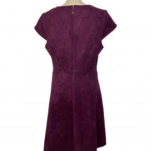 שמלה שרוול חצי קצר קטיפה סגול כהה 2