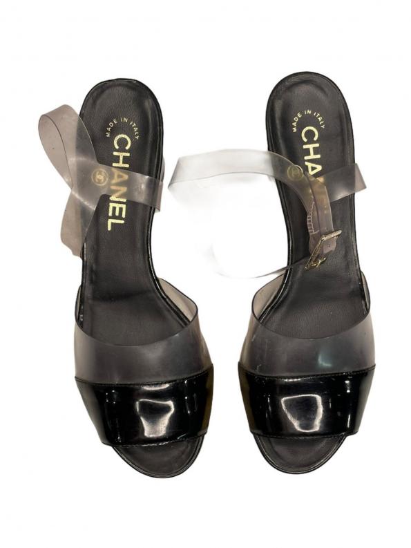 נעלי פלטפורמה שחור ושקוף chanel 1