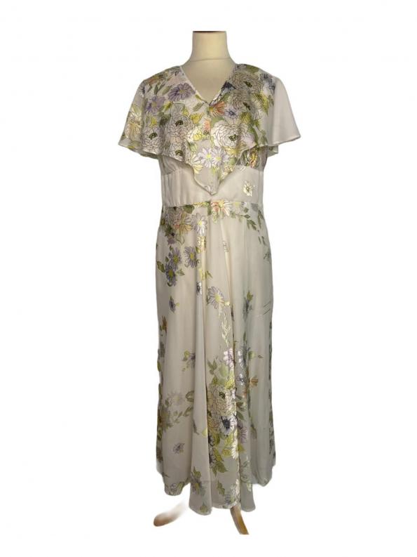 שמלת מקסי וינטג׳ שמנת עם פרחים ירוק צהוב 1