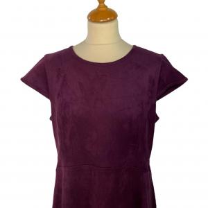 שמלה שרוול חצי קצר קטיפה סגול כהה 4