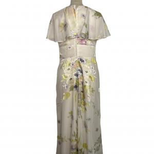 שמלת מקסי וינטג׳ שמנת עם פרחים ירוק צהוב 3
