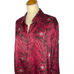 חולצת משי ויטנג׳, סגולה עם הדפס נוצות טווס 3
