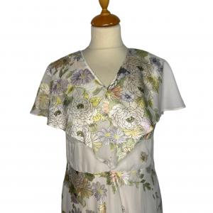 שמלת מקסי וינטג׳ שמנת עם פרחים ירוק צהוב 2