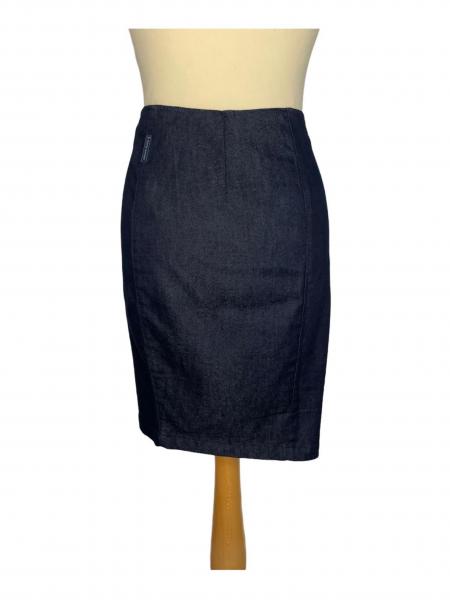 שמלה מכופתרת כחול כהה עם צאורון שחור - Paper 9