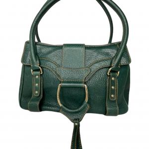 תיק יד / צד בצבע ירוק עמוק עם תיפורים בצבע חרדל dolce&gabbana 4