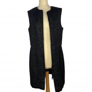 שמלה ללא שרוולים עם רוכסן ודמוי קשקשים בצבע שחור מבריק vera wang 2
