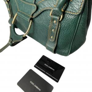 תיק יד / צד בצבע ירוק עמוק עם תיפורים בצבע חרדל dolce&gabbana 2