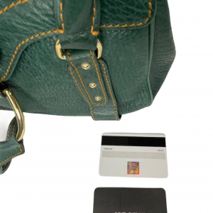 תיק יד / צד בצבע ירוק עמוק עם תיפורים בצבע חרדל dolce&gabbana 6