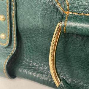 תיק יד / צד בצבע ירוק עמוק עם תיפורים בצבע חרדל dolce&gabbana 5
