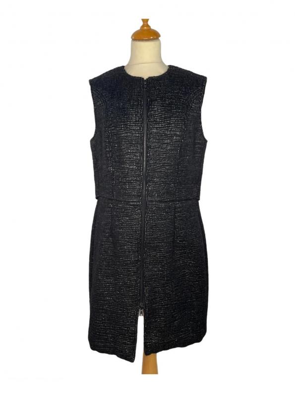 שמלה ללא שרוולים עם רוכסן ודמוי קשקשים בצבע שחור מבריק vera wang 1