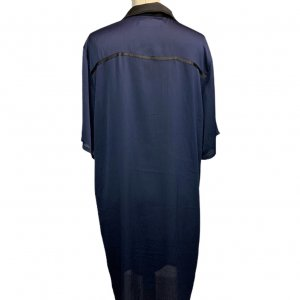 שמלה מכופתרת כחול כהה עם צאורון שחור - Paper 2