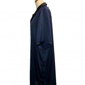 שמלה מכופתרת כחול כהה עם צאורון שחור - Paper 3