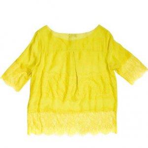 חולצת שיפון ותחרה בצבע צהוב שקוף MALENE BIRGER 2