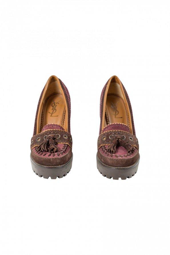 נעלי עקב סגול בורדו - Yves Saint Laurent 1