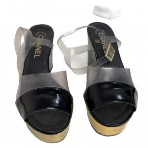 נעלי פלטפורמה שחור ושקוף chanel 3