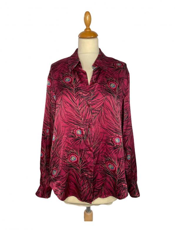 חולצת משי ויטנג׳, סגולה עם הדפס נוצות טווס 1